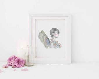 A4 & A3 Angel Illustration Print - Orifiel