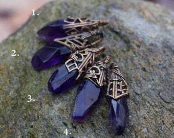 Royalty - Amethyst Crystal and Brass Filigree