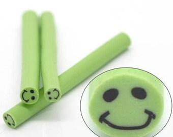 1 cane polymer clay green smilais 5 * 0.5 cm