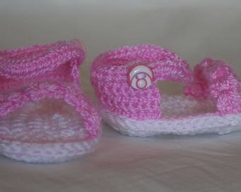 Sandals handmade baby pink size 0-3 months in cotton and wool for summer