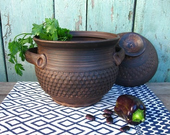 Pottery casserole with lid and handles Ceramic handmade Clay cookware Rustic Stoneware dinnerware Pot for soup Unglazed bowl Made in Ukraine