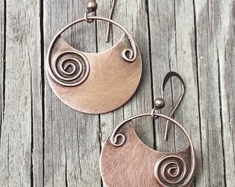 Copper earrings, copper jewelry, spiral earrings, geometric earrings, dangle earrings, gift for her