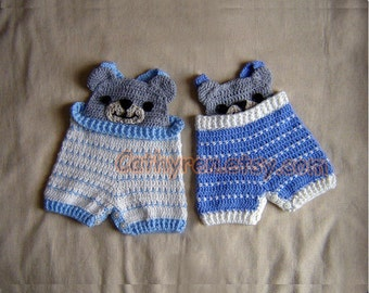Baby Bear Overall Shorties, Buttons at Legs for Easy Change - INSTANT DOWNLOAD Crochet e-Pattern