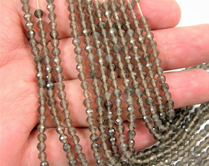Grey Obsidian - 4mm(3.8mm) faceted round beads -  1 full strand 16 inch - 40 cm - 106 beads - Micro Faceted - A Quality - PG147