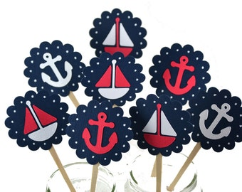 Nautical Cupcake Toppers, Navy Nautical Baby Shower, Nautical Invitation, Ahoy Its A Boy ,Sailboat Cupcake Toppers, Nautical Birthday Theme