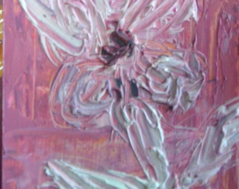 Original ACEO Oil Painting- White Flower