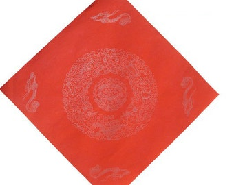 Chinese Calligraphy Material  34x34cm Red Xuan Paper Couplets / Square / 8 Immortal Tools / 1 Piece - 0015C