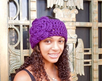 Crochet Headband, Ear Warmer With Flower, Adult, Crochet, Dark Purple, Women,Teen,,