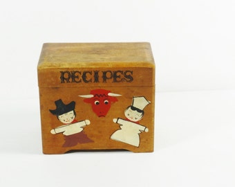 Vintage Wooden Recipe Box
