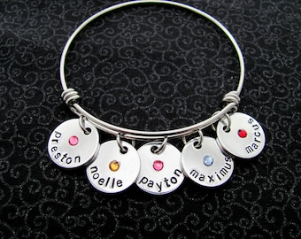 Personalized Adjustable Bangle Bracelet, Name Discs with Birthstones, Customize, Charm Bracelet, Charms
