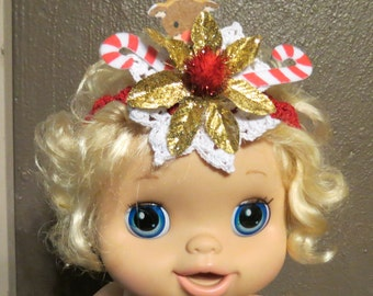 Baby Ugly Christmas Sweater Party Head Band Fun Unique Perfect Accessory Candy Canes Baby Christmas Headband, Baby Headband Photo Prop HB2