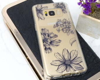 Samsung Galaxy S9 Case, Galaxy S8 Case, Phone Case, Floral, Galaxy S7 Case, Galaxy S8 Plus Case, Clear Case, Navy Blue, Galaxy S9 Plus Case