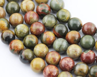 2.0mm Large Hole Smooth Picasso Jasper Gemstone Round Loose Beads Size 8mm/10mm Approximate 15.5 Inches per Strand.R-S-L-JAS-0240