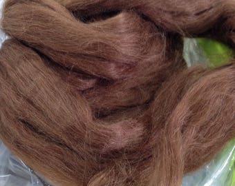 Brown Alpaca Tussah Silk Roving Spinning Fiber Luxury Fiber