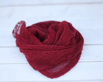 Burgundy, Wine Knitted Wrap, New born Burgundy Wrap, Delicate Knit Wrap