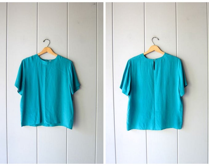 90s Boxy SILK Blouse Slouchy Silk Blouse 90s Silk Tee Vintage Minimal Short Sleeve Blouse Turquoise Green Silk Shirt Modern Womens Medium