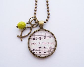 Music Pendant Necklace - Kept In His Love - Moment by Moment - Inspirational Jewelry - Music Jewelry - Hymn - You Choose Bead and Charm