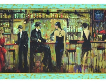 "Quilting Treasures - Artworks - 24"" x 44"" Digital Bar Scene Panel - Fabric by the Panel 24636-X"