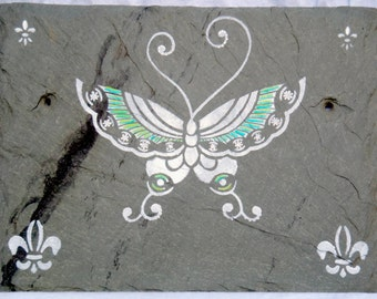 White Butterfly Wall Art on Recycled Roofing Slate