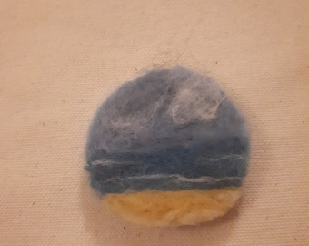 Needle felted seascape brooch