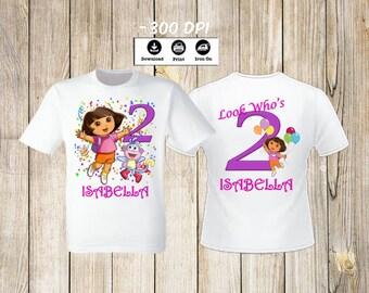 Dora the Explorer Set of 2 Birthday Girl iron on transfers Dora the Explorer iron on transfer front and back of t-shirt. Dora Birthday set.