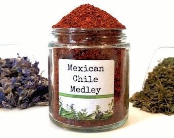 Mexican Chile Medley/Food Gift/Spice Rack/Gifts For Foodies/Foodie Gift/Seasonings Gifts/Kitchen Pantry/Chef Gift/Seasoning Blends