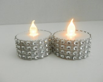 48 wedding Rhinestone led tea lights gold or silver, party led tealights, holiday party decorations, christmas decorations