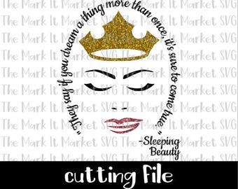 Sleeping Beauty, They say if you dream a thing more than once, it's sure to come true SVG/DXF cutting file