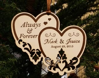 Always & Forever Personalized Wedding Ornament, Anniversary Ornament,