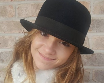 Mens Derby Hat, Bowler Hat, Bowler Derby Hat, Mens, Hats, Wool Hat, 1920s, 1930s, Derby Hats For Men, Medium, 7 1/8 Bower Hat, Vintage Hats
