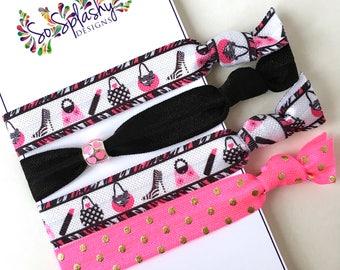 Elastic black and pink hair ties.  Girl hair ties, yoga hair ties, teen gift, stocking stuffer, beaded hair ties, purse, shoes