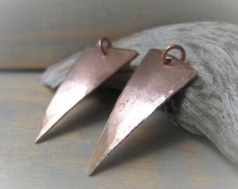 Copper Triangle Pendant Hammered Copper Drop Pair Oxidized Copper Pendant  Item No. 6683 3661