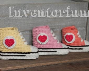 """Crochet PATTERN baby booties crochet pattern,  """"Old Skool kicks"""" girls sneakers, crochet boots PATTERN ONLY"""