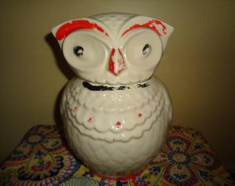 Vintage Kitschy Jewel Tea Cold Painted Owl Cookie Jar