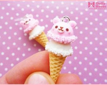 Sweet kawaii Ice-Cream Bears Earrings by Dolly House