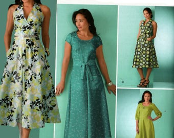 Threads Magazine Collection Dress in Two Lengths w/ Bodice Variations Halter Style Sewing Pattern Simplicity 2888 Plus Size 16-24 UNCUT