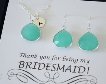 11 Monogram Bridesmaid Necklace and Earring set Green, Bridesmaid Gift, SeaFoam Gemstone, Sterling Silver, Initial Jewelry, Personalized