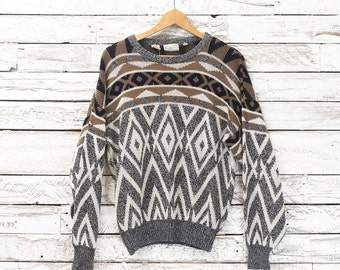 Retro sweater / Vintage pullover / Vintage patterned sweater / Geometric patterns / Medium Men