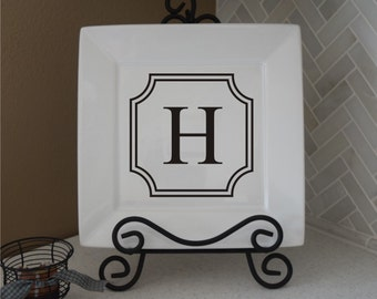 Monogram Decal - Personalized Vinyl Decal - Plate Decal - Name Decal - Vinyl Wall Decal - Kitchen Decal - home decor - home vinyl decal