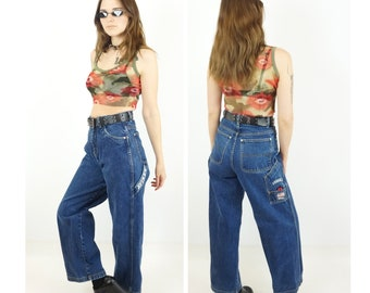 Avirex 90s Logo Wide Leg Baggy Jeans, 90s Designer Jeans, High-Waisted Club Kid Jeans, Women's Size X-Small