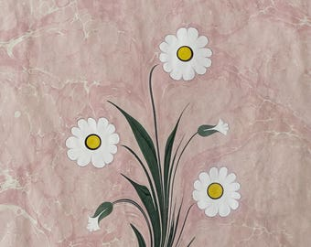 Vintage Wall Decor Framed Marbled Painting 50x65 cm, Ebru Art White Daisy Picture, Hand Painted Original Art, Oriental Home Decor