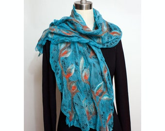 Nuno Felted Silk Scarf Blue Abstract Floral and Butterflies