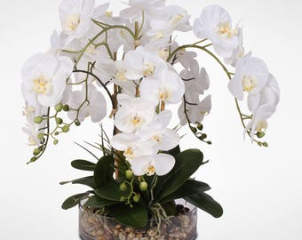 Life Like White Real Touch Phalaenopsis Orchid & Vanilla Grass Bush in a Glass Bowl #14C