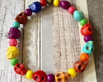 Skull Bracelet Multi Colored Stretchy Howlite Beaded, Sugar Skull, Day of the Dead