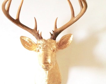 XL GOLD Natural-looking antlers XL Deer Head Faux Taxidermy animal head wall mount wall hanging / stag head / metallic nursery decor office