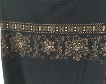Black stretchy sleeveless women's tank top with glitter flower pattern UK 8/10