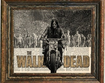 The Walking Dead featuring Darly Dixon  print art on 8x10 upcycled vintage dictionary page