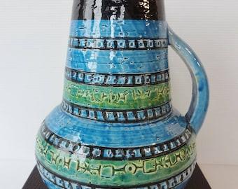 Italian Mid-Century Modern / Vintage BITOSSI Rimini Blu Art Pottery  Jug /Vase ALDO LONDI - 1960's