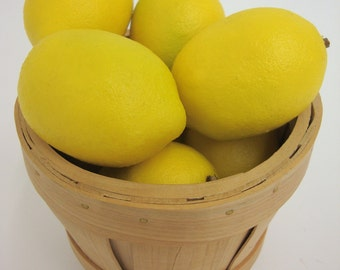 Faux Yellow Lemon Fruit Realistic Food Display Home Kitchen Decor Artificial. Bag of 12 Pieces.