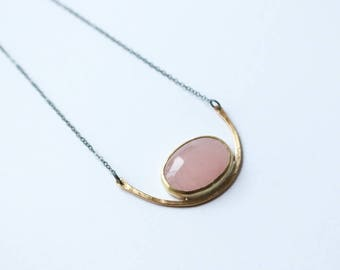 Necklace | Hammered Brass and Rose Quartz Pendant, handmade jewelry